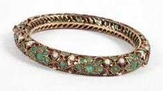 Lady's 14K Gold Emerald & Pearl Bangle Bracelet