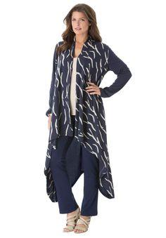 Roamans Women's Plus Size Maxi Drape Cardigan (Navy Print, 3X) at Amazon Women's Clothing store: