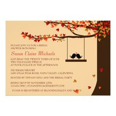 Love Birds Falling Hearts Oak Tree Bridal Shower Card