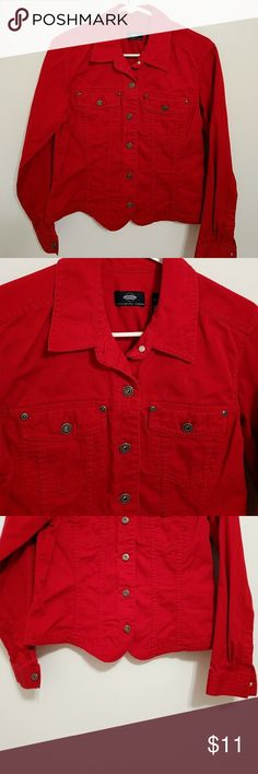 Crazy Horse Red Jacket This jacket buttons up the front and has a scalloped bottom to it. Liz Claiborne Jackets & Coats