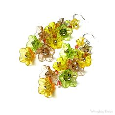 Fall Flower Earrings Autumn Jewelry by whimsydaisydesigns on Etsy
