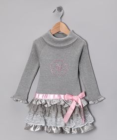 Gray Ruffle Turtleneck Dress - Infant, Toddler & Girls