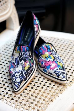 Indulge in luxurious comfort all summer long in Nicholas Kirkwood's printed silk loafers. Made in Italy.