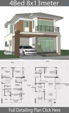 Home Design Plan with 4 Bedrooms. - Home Ideas - Home Design Plan with 4 Bedrooms. – Home Design with Plansearch - {hashtag} Two Story House Design, 2 Storey House Design, Duplex House Plans, Family House Plans, Bungalow House Design, Small House Design, Dream House Plans, House Floor Plans, House Layout Plans