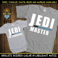 98c14fd7 Funny Jedi Master And Jedi In Training Cute Matching T-shirts Family Gift  Set For Dad Daddy Mommy Baby Bodysuit Toddler Shower Father's Day