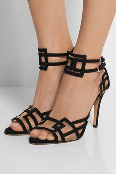 Charlotte Olympia | Between The Lines suede and mesh sandals | NET-A-PORTER.COM