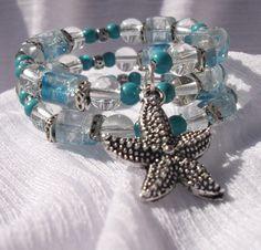 Turquoise Starfish Handmade Memory Wire Bracelet