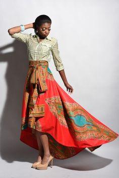 New African print skirt Red Dashiki skirt African by Rahyma