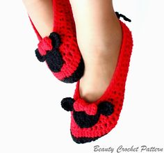 Minnie Mouse Women Crochet Shoes Pattern