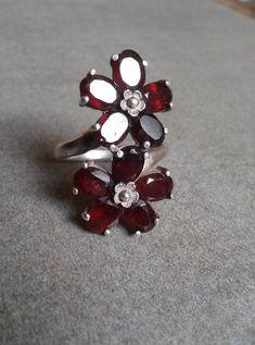 Unique motif cœur fait main feu naturel Rouge Garnet Gems Silver Ring Taille 7 8 9