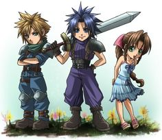 Final Fantasy 7 Cloud, Zack, and Aerith