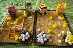 I adore this sensory activity using materials from the house steel cut oatmeal making sheets plastic eggs milk cartons etc. Farm Activities, Easter Activities, Spring Activities, Toddler Activities, Sensory Boxes, Sensory Play, Sensory Tubs, Farm Unit, Tuff Tray