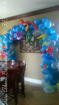 balloon arch just replace with the little mermaid with one of the guppies...this is really cute