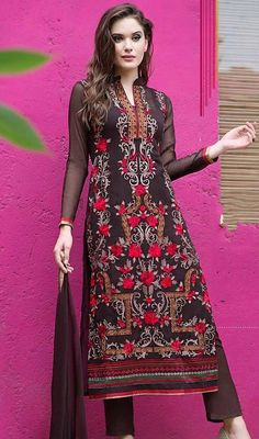 Look elegant wearing this brown color georgette embroidered pant style suit. The lace, patch, resham and stones work appears to be like chic and best for any party. #casualweardress #embroideredsuit #longstraightdress