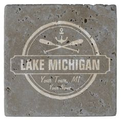 Lake Michigan, custom town, name, anchor, paddles Stone Coaster