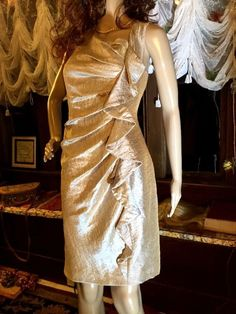 $29.50 FREE SHIPPING   Lamé Formal Celebration Dress Sz 8 By SUZI CHIN Rayon Champagne Side Ruffle  #SuziChinForMaggyBoutique #OneShoulderonesupportingshoulder #Cocktail