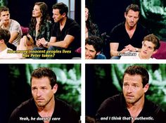 """How many innocent people's lives has Peter taken? """"Countless. Yeah, he doesn't care and I think that's authentic."""" I love Ian Bohen!!"""