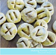 A Bit Of This and A Bit Of That: How to make Roman coins - rather than using it to make Roman coins, use it to make Ancient Greek coins Ancient Rome, Ancient Greece, Ancient History, Romans Ks2, Greek Crafts, Kid Crafts, Roman Food, 6th Grade Social Studies, Horrible Histories