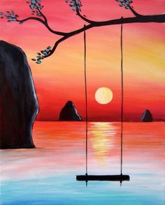 40 Acrylic Painting Tutorials & Ideas For Beginners – Brighter Craft – Malerei Simple Canvas Paintings, Small Canvas Art, Easy Canvas Painting, Diy Canvas Art, Watercolor Paintings, Sunset Painting Easy, Drawing Sunset, Easy Watercolor, Pour Painting