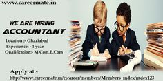 Looking for Accountant jobs in Ghaziabad, apply at CareerMate Careermate is currently recruiting candidates for the post of Accountant of 2 years. Careermate is placement consultants in noida, hiring aspirants for the role of Accountant. The candidate should be M.Com. Interested candidates can send their resume at hr@careermate.in or apply at http://careermate.in/cicareer/members/user/index/company_details/company_info/job_post_id?job_post_id=129