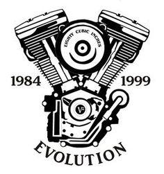 Wandtattoo-Aufkleber-Motorrad-Biker-Chopper-Harley-Motiv-Evo-Evolution-Motor