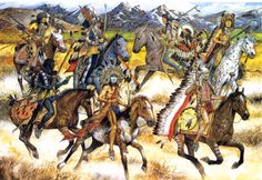 Fight between Sioux and Crow warriors, mid- to late century American Indian Wars, American War, American Indians, American History, Plains Indians, Cowboys And Indians, Sioux, Indian Artwork, Native American Artists