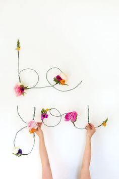 DIY Floral and Wire Words Free Download @LovelyIndeed
