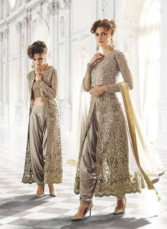 Achkan Style Gray with Crystals Stones Work Incredible Unstitched Salwar Kameez