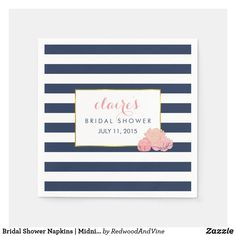 Bridal Shower Napkins   Midnight Blush Peony Blush Peonies, Peonies Bouquet, Peony, Silk Flowers, Paper Flowers, Flowers Garden, Floral Banners, Freundlich, Navy Stripes
