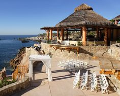 Wedding ceremony set up overlooking the ocean at Esperanza Resort, Cabo  http://www.esperanzaresort.com