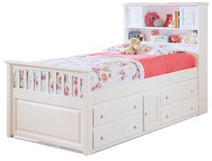 Captain's Bookcase Bed w Underbed Storage Chest in White Finish from storagebedstore.com