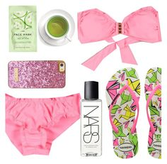 """Pink and green"" by sanddollardubai ❤ liked on Polyvore featuring H&M, Havaianas and NARS Cosmetics"