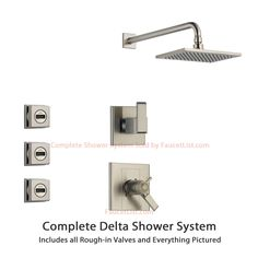 Delta Arzo Stainless Steel Shower System with Thermostatic Shower Handle, 3-setting Diverter, Large Square Rain Showerhead, and 3 Modern Body Sprays SS17T8683SS