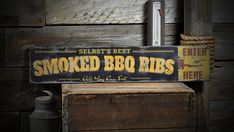 BBQ Sign, Barbecue Sign, Barbeque Sign Custom Family Smoked BBQ Wood Sign…
