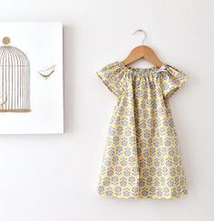 Toddler Girls Organic Spring Dress-modern retro flowers cotton yellow grey baby toddler party sundress- Children Clothing by Chasing Mini