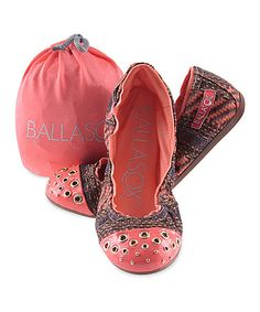Another great find on #zulily! Brown & Coral Abstract Harmonia Leather Ballet Flat by Ballasox #zulilyfinds