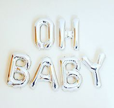 Oh Baby Balloons  Gold Mylar Foil Letter Balloon Banner Kit For
