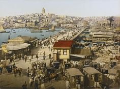 Photochrom color photo of Constantinople, view of Galata