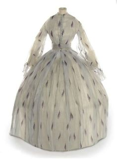 ~Day Dress: ca. 1860-1865, starched organdy printed with lilac sprays~