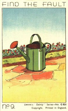 Find the fault (no illusion) Funny Quiz Questions, Cool Optical Illusions, Old Postcards, Watering Can, Riddles, Graphic Illustration, Quizes, This Or That Questions, Garden