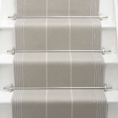 Products Runners for stairs and halls Neutral/Black Swanson: Pebble - Roger Oates Design Staircase Runner, Stair Runners, Stair Runner Rods, Stair Rods, Painted Stairs, Carpet Stairs, Stair Carpet Runner, Hallway Decorating, Decorating Ideas