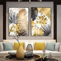 Nordic Tropical Gold Leaves Abstract Wall Art Posters Fine Art Canvas Prints For Modern Office Or Apartment Pictures For Living Room Decor is part of Poster wall art Nordic Tropical Gold Leaves Abst - Living Room Pictures, Wall Art Pictures, Modern Pictures, Plant Pictures, Gold Leaf Art, Art Mural, Art Art, Abstract Wall Art, Modern Decor