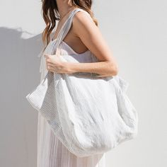 The Beach People |Linen Tote Bag in Blue Stripe