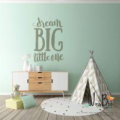 Dream Big Little One Wall Decal Nursery Wall by wordybirdstudios