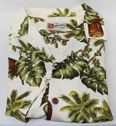 Hilo Hattie Men's Hawaiian Shirt Size L Large White Palm Tree Designs #HiloHattie #Hawaiian