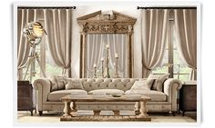 Restoration Hardware!!!!! I love the long simple linen couch and HUGE mirror! Reminds me of Van Helsing or Phantom of the Opera