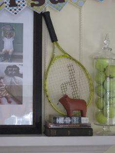 tennis decor - great idea to put balls in glass jar