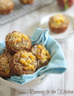 Peach coconut almond flour muffins ... Ingredients include: almond flour, coconut flour, coconut flakes, cinnamon, baking soda, eggs, coconut oil, banana, applesauce, vanilla, peaches.