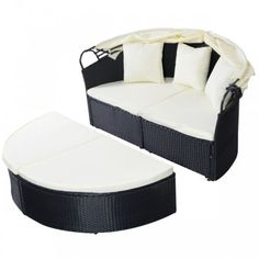 Outdoor-Patio-Sofa-Daybed-Round-Retractable-Canopy-Black-Wicker-Rattan-Furniture