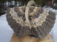 basket with elk antler handle